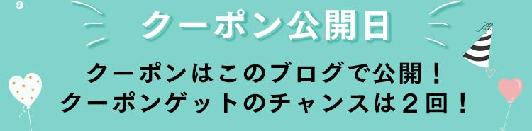 クーポン公開日 クーポンはこのブログで公開!クーポンゲットのチャンスは2回!