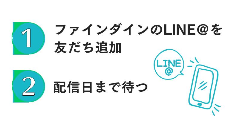 1.ファインダインのLINE@を友だち追加  2.配信日まで待つ
