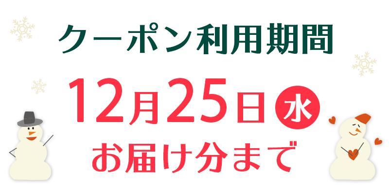 クーポン利用期間12月25日(水)お届けぶんまで