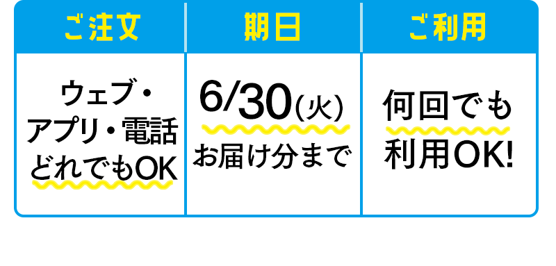 ウェブ・アプリ・電話 どれでもOK・6/30(火)お届け分まで・何回でも利用OK!